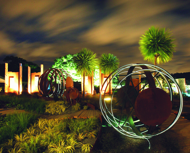Marble Park - an Ellerslie Flow Show Gold Medal winner used fibre optic cable to provide a safe lighting effect on the inside of the marbles