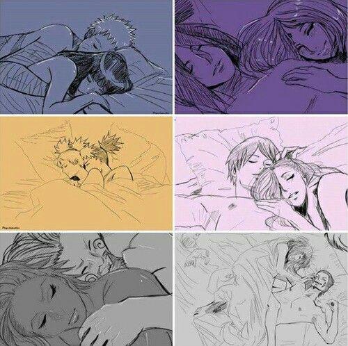 Parejas de Naruto: Naruto y Hinata, Sasuke y Sakura, Sai e Ino, Shikamaru y Temari, Chouji y , Kiba y .