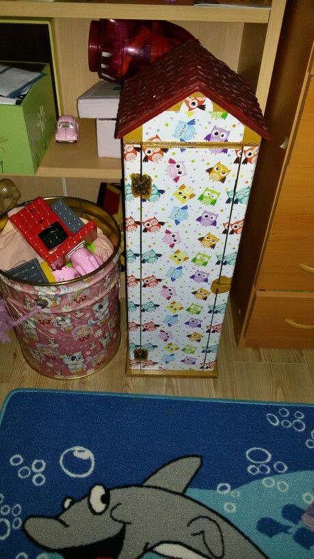 Daddy has used pattwrned paper to cover it. This little house is for my daughter's babies...
