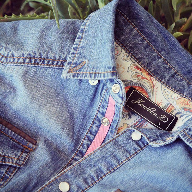 Right on this season's denim trend, the Peak Shirt in Light Indigo by Jonathan D, adds that extra pop with its pocket detailing #jonathandafrica #jonathand #denim #denimshirt #style
