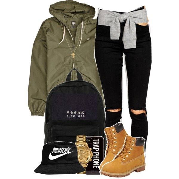 Untitled #2189 by blasianmami16 on Polyvore featuring ASOS, Timberland, Herschel, Versus, Gogo Philip, NIKE and Element