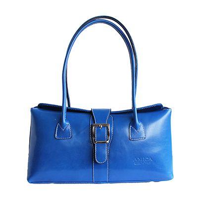 Buckle Lock Blue Leather Shoulder Bag - £59.99
