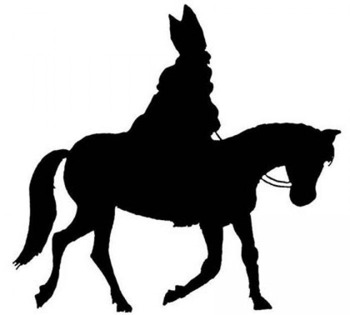 mooi silhouet van Sinterklaas voor op het raam of windlicht. Uitknippen van zwart papier en klaar.