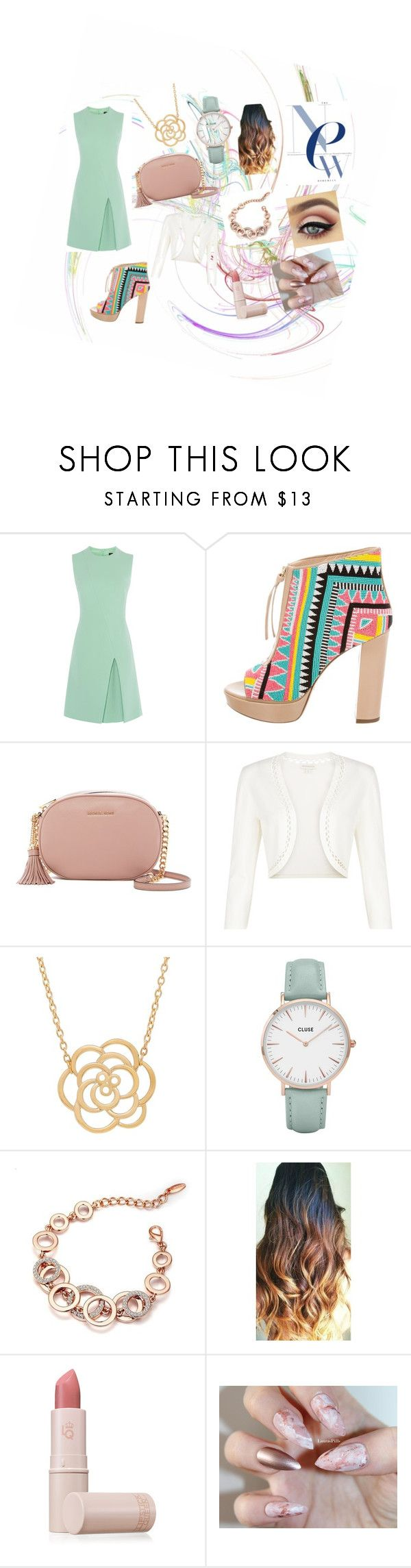 """""""Untitled #4"""" by elena-bowen ❤ liked on Polyvore featuring Jerome C. Rousseau, MICHAEL Michael Kors, Monsoon, Lord & Taylor, CLUSE and Lipstick Queen"""
