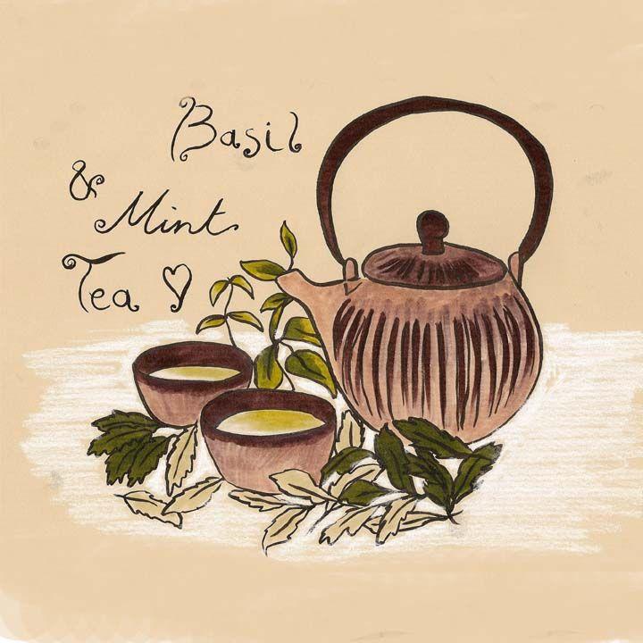 Editorial illustration Basil & Mint tea Japanese teaset Munt en basilicum thee Japanse theeset illustratie evelinevanparys.com