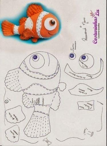 ARTESANATO COM QUIANE - Paps,Moldes,E.V.A,Feltro,Costuras,Fofuchas 3D: Peixinho Nemo para artesanato