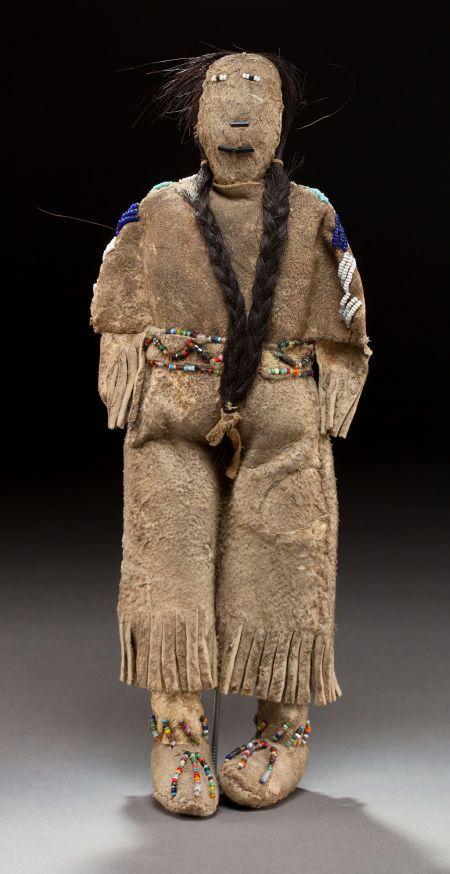 Sioux Beaded Hide Female Doll, c. 1890