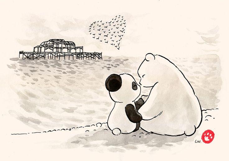 Commission: Christmas in Brighton | Panda and Polar Bear
