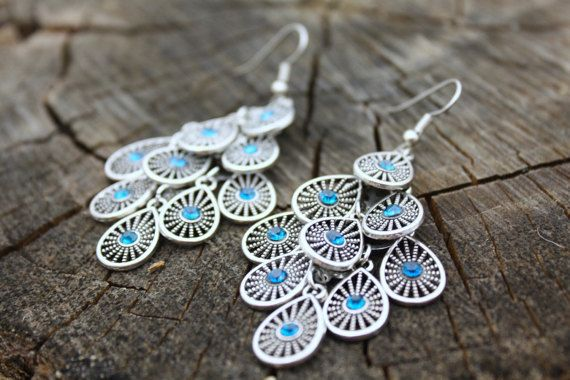 Dangling Blue and Silver Earrings