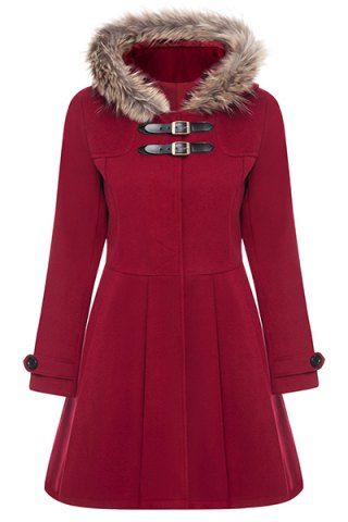 Stylish Hooded Long Sleeve Solid Color Worsted Coat For Women