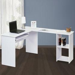 Kulmapöytä, valkoinen, 119,95€. Tämä kulmapöytä on erinomainen valinta kotitoimistoon tai tietokonepöydäksi. Sivuhyllyn voi vetää myös suoraksi saakka!  Pöydästä löytyy iso työtila, vedettävä näppäimistöteline ja kaksikerroksinen hylly. Ilmainen toimitus! #kulmapöytä