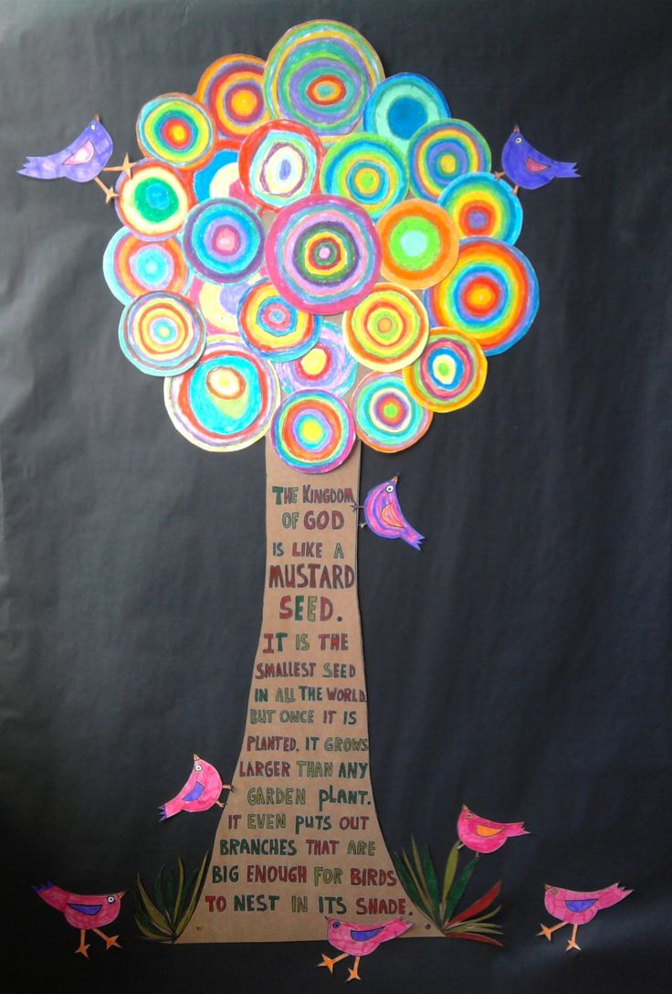 Circle Tree. Great group art work in Kandinsky style... Circles coloured with oil pastels and birds with felt-tips.