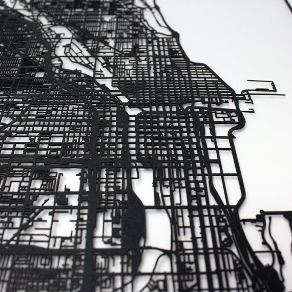 Chicago Map, Laser Cut Map, Chicago Illinois, Map of Chicago, Cut Only, Wedding Gift, Chicago Wall Art, Chicago Gift, Chicago IL