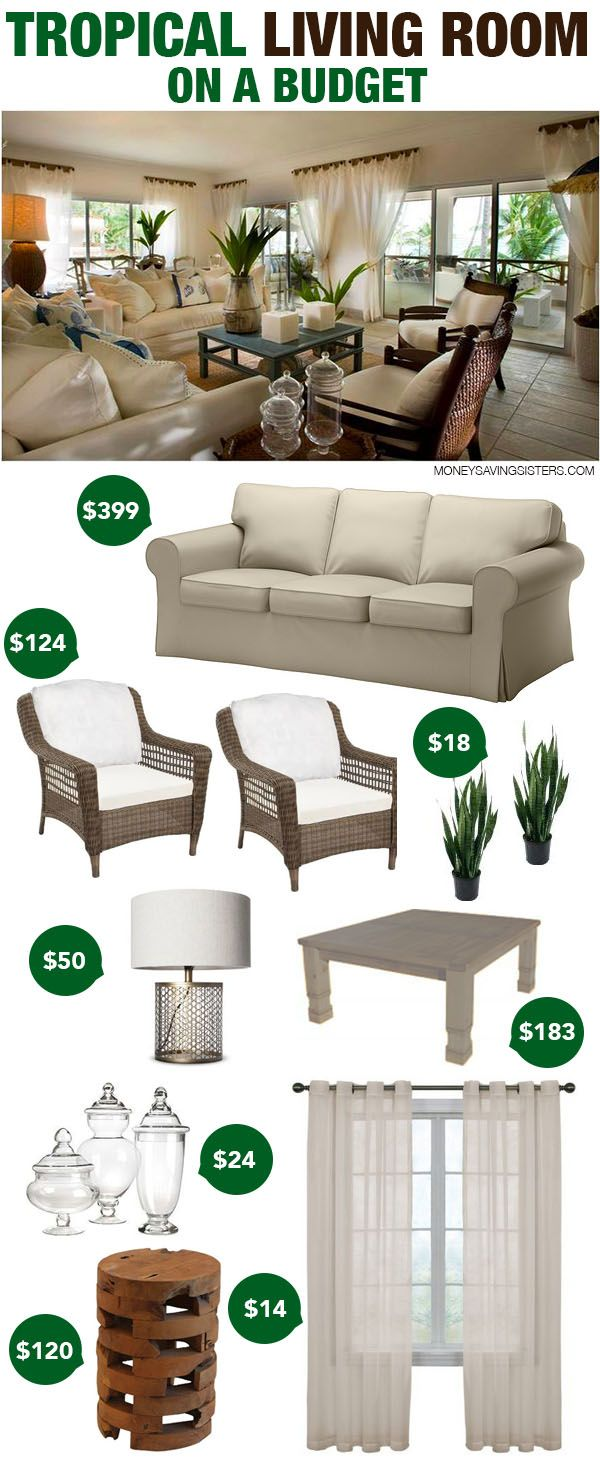 Wondering what to do with a beige sofa? Turn it into this budget friendly tropical living room with pieces from Ikea & Target!