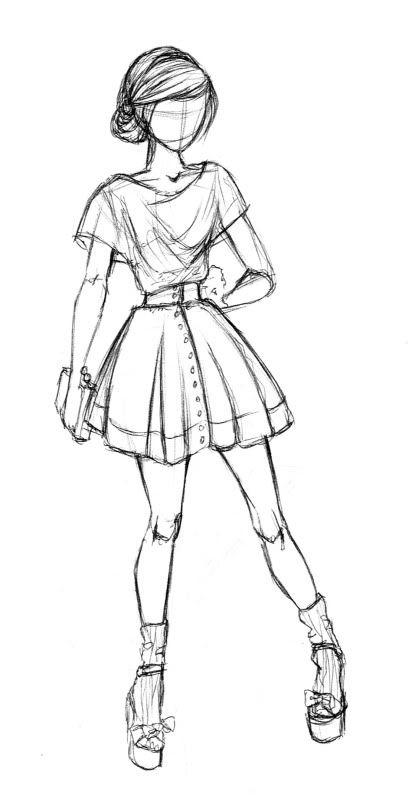 Девушка в полный рост рисунок карандашом