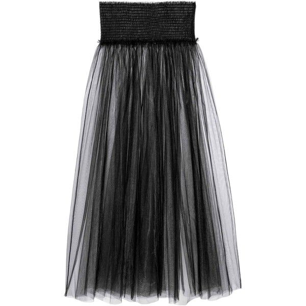Transparent skirt ($36) ❤ liked on Polyvore featuring skirts, see through skirt, sheer mesh skirt, long mesh skirt, smocked skirt and mesh skirt