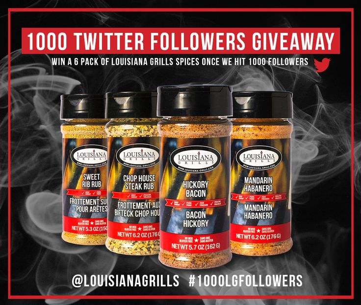 We're giving away a 6-pack for Louisiana Grills spices to one of our Twitter followers when we hit 1000 Twitter followers! Follow us on Twitter @louisianagrills to enter!