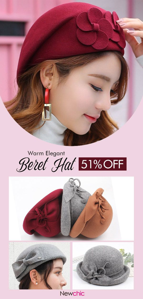 Women Warm Wool Vogue Elegant Beret Hat Outdoor Dating Casual Solid Color  Flower Dress Hat  hats  warm  casual  wool  vogue 5ddb2b123