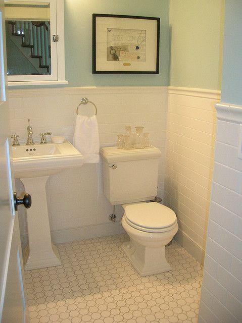 White Octagon Dot Tile Light Gray Grout For Floors In 2nd Floor Baths Laundry Bathroom