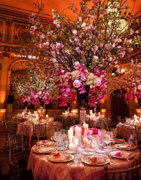 In pink: Decor, Receptions Centerpieces, Cherries Blossoms, Ideas, Flowers Centerpieces, Dreams, Wedding, Dinners Parties, Trees Centerpieces