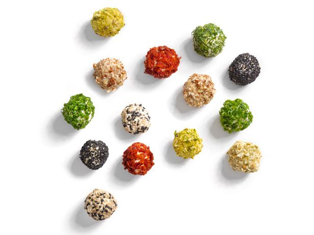 Food Network Magazine's Mini Cheese Balls : The possibilities are endless when it comes to these mini cheese balls. Start with cream cheese and then mix with another favorite cheese (like cheddar, Parmesan, pepper Jack or Gouda). Next, roll the balls in a delicious topping (choose from chopped pistachios, herbs, bacon and more).