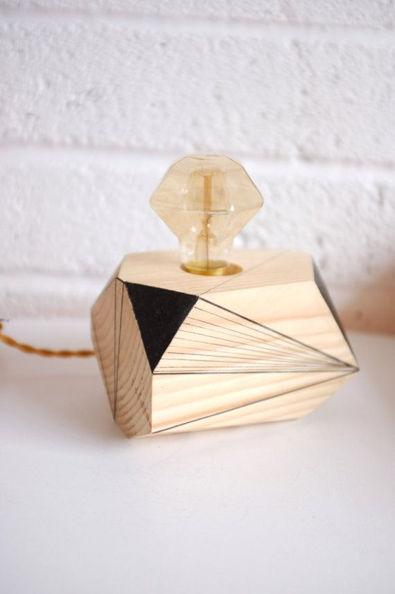 Geometric lighting  wooden lamp  Fornax by by Polymorphics on Etsy