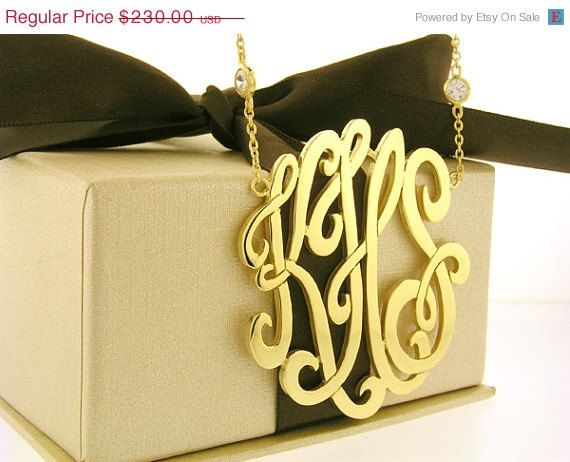 ON SALE Monogram  Necklace, 1 3/4 inches in  Diameter, Sterling Silver, Monogram, Monogram Pendant, Personalized Monogram, Silver Monogram,