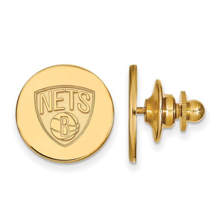 14 Karat Gold NBA LogoArt Brooklyn Nets Lapel Pin