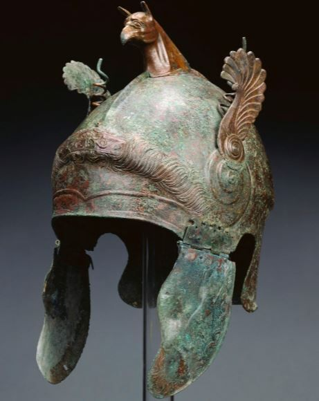 Phrigian-Chalcidian helmet, 350 - 300 B.C., South Italian Getty museum