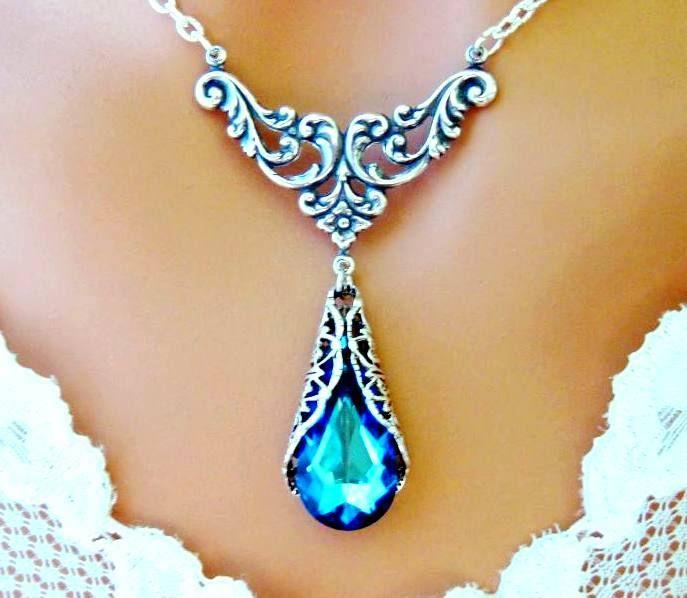 Bermuda Blue Victorian Necklace Peacock Antiqued Silver Wedding