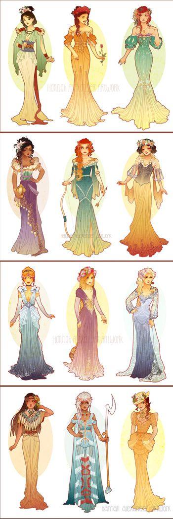 Art Nouveau Princesses by Never Bird Designs ... A little slim for art nouveau figures, but still gorgeous