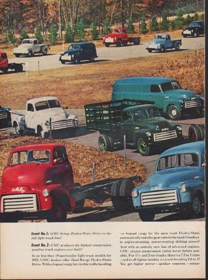 "1953 GMC TRUCKS vintage print advertisement ""Revolution on Wheels"" ~ Revolution on Wheels -- thanks to two great new GM developments ... no less than 19 spectacular light truck models for 1953 ... ~"