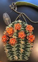 NWT Mary Frances Cactus Flower Western Floral Green Purse Handbag Beaded Bag