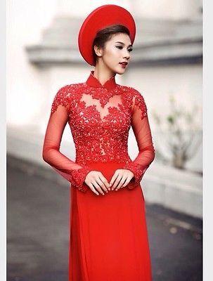 Vietnamese Traditional Beautiful Ao Dai-Red