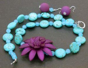 Purple Flower Beaded Necklace, 54cm - Plus Earrings - Party Necklace!  $34.95