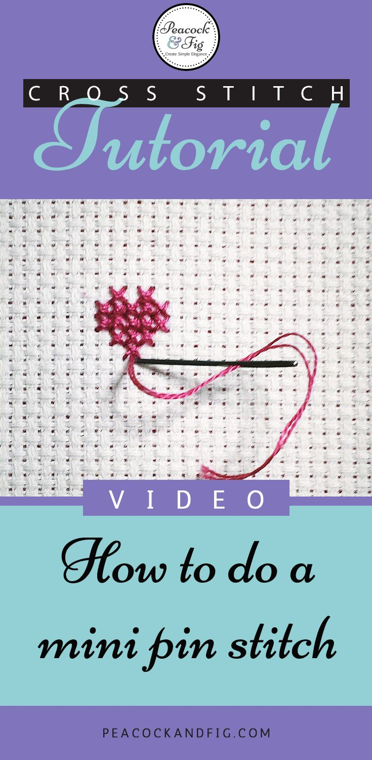 Cross stitch tutorial for how to do a mini pin stitch (great for areas of dense stitching)