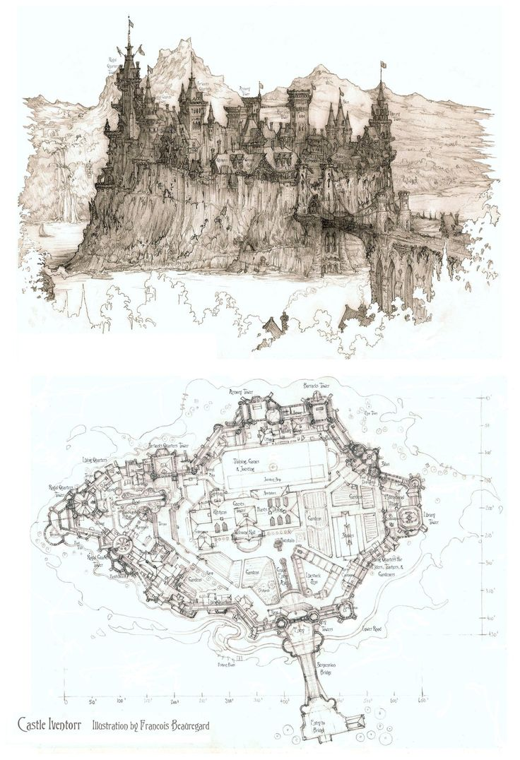 Castle Number 3: Castle Iventorr by Built4ever map cartography | Create your own roleplaying game material w/ RPG Bard: www.rpgbard.com | Writing inspiration for Dungeons and Dragons DND D&D Pathfinder PFRPG Warhammer 40k Star Wars Shadowrun Call of Cthulhu Lord of the Rings LoTR + d20 fantasy science fiction scifi horror design | Not Trusty Sword art: click artwork for source