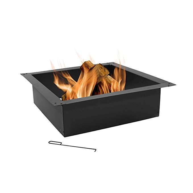 Sunnydaze Large Square Fire Pit Ring Insert Diy Firepit Rim Liner Above Or In Ground Outdoor Heavy Du Wood Burning Fire Pit Square Fire Pit Fire Pit Backyard