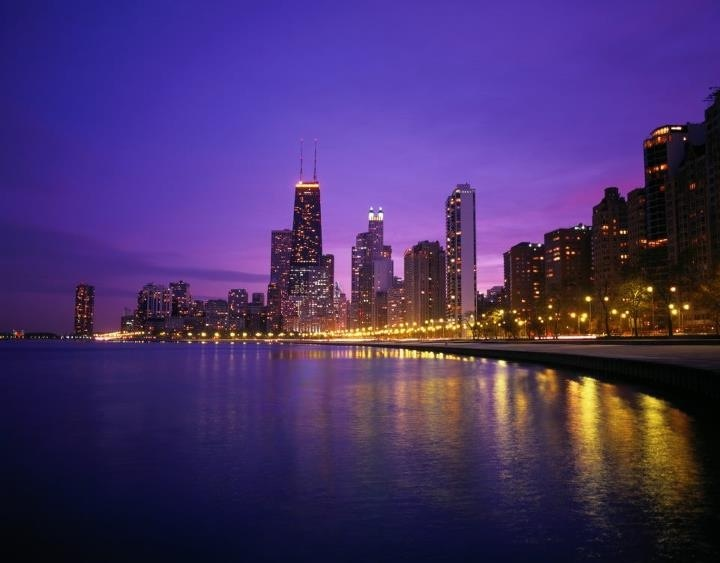 The beautiful chicago skyline beautiful scenery for Chicago skyline mural wallpaper