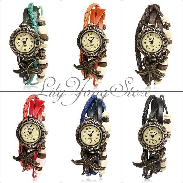 Reloj De Pulsera Mujer Con Cuero Cuarzo Brazalete Estrella Mar Vintage Estilo | eBay
