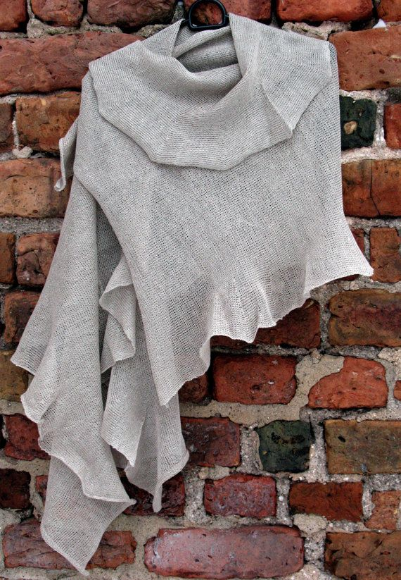 Gray Linen Scarf Shawl Wrap Stole Light by Initasworks on Etsy