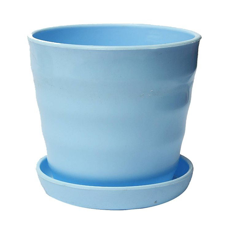 Plastic Round Flower Plant Pot Planter Holder With Tray Home Office Garden Decor Blue