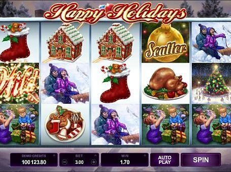 Темою ігрового онлайн апарату Happy Holidays стали зимові свята. У цьому автоматі ви будете грати на реальні гроші на 243 лініях. Регулярного висновку призів сприяють бонусні спини і спеціальна функція.