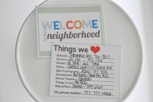 Welcome to the neighborhood printable- our favorite things list; fabulous idea!