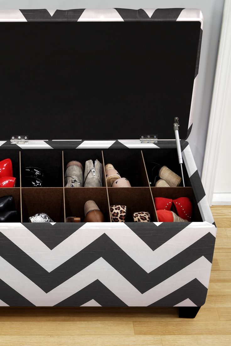 The Sole Secret Charcoal/White Upholstered Shoe Storage Bench
