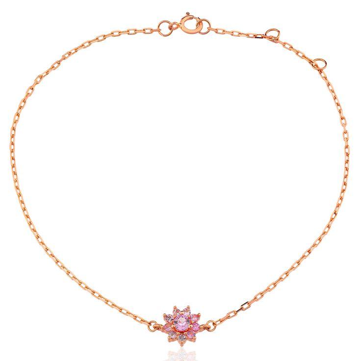 Pulseira Ouro Rosé e Safira Rosa Leonor