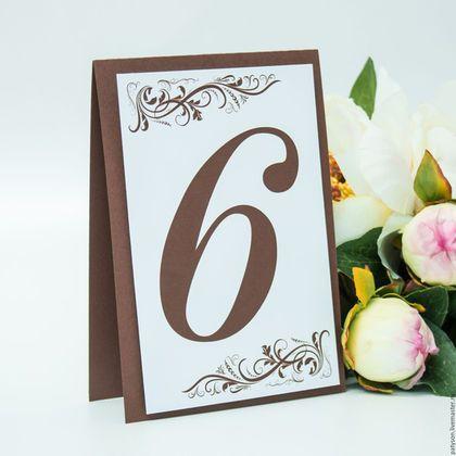 К данным номерам столов можно заказать подходящий по цвету план рассадки гостей.