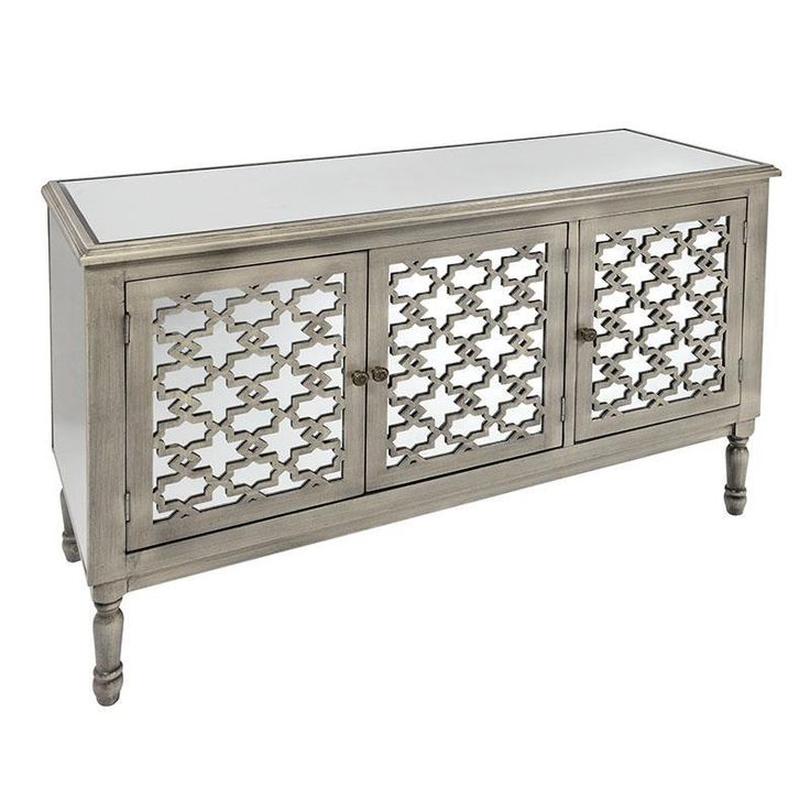Exquisite #mirrored wooden #cabinet in antique grey color. www.inart.com