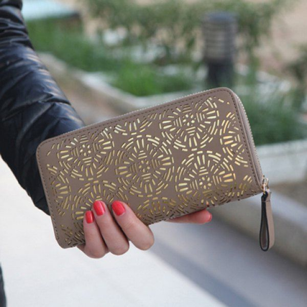Trendy Openwork and Zip Design Clutch Wallet For Women, KHAKI in Women's Wallets | DressLily.com