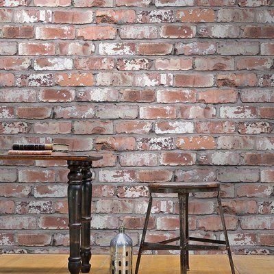 Holcombe Brick Effect Wallpaper   White/Grey & Red